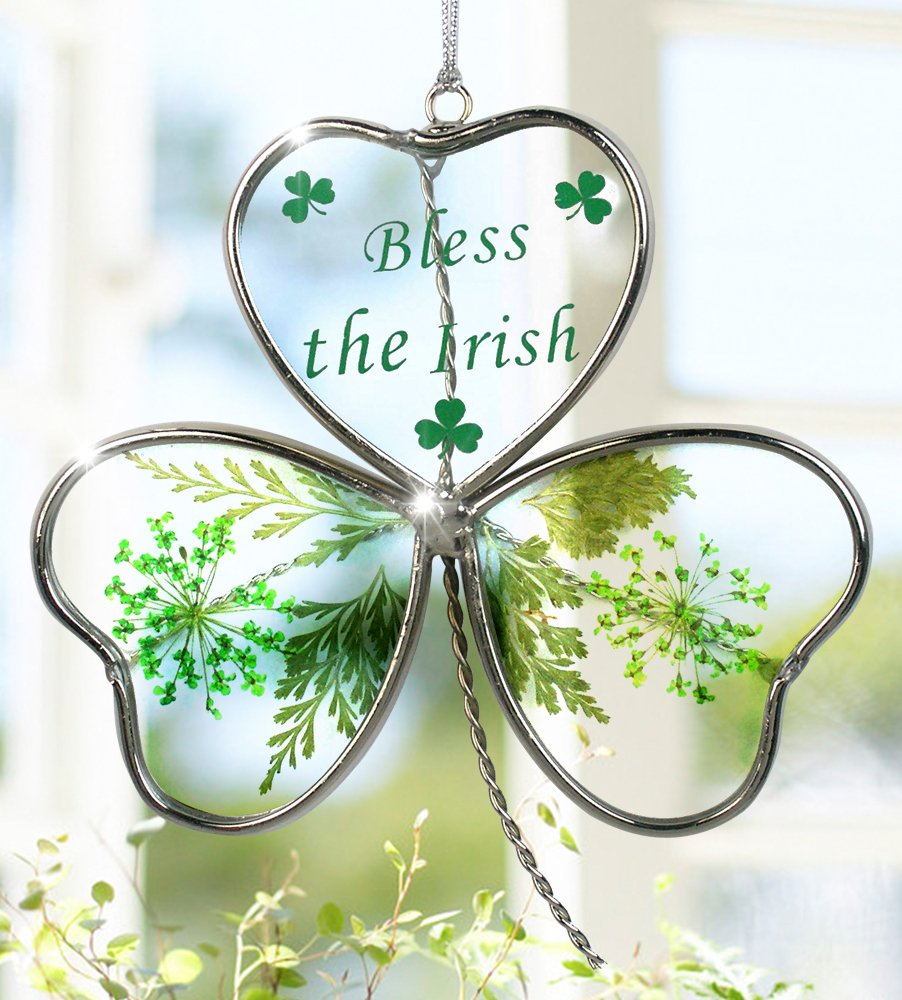 BANBERRY DESIGNS Shamrock - Garden Suncatcher - Pressed Flowers Inside a Glass Shamrock - Bless the Irish Printed on the Glass