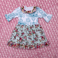 2015 summer casual dress for girls new kids simple 3/4 sleeve dress