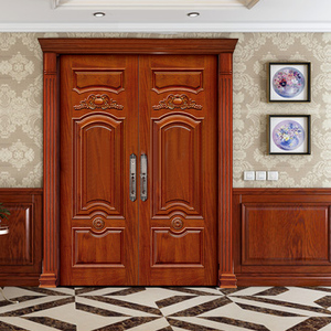 One stop solution custom solid wooden double door designs for house in Kerala