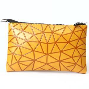 PU Geometric Small Hand Bag New Fashion Zipper Women Wallet Pouch Coin Purse  Makeup Travel Cosmetic bee3ba9b68dc3
