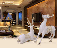 Hot selling resin christmas ornaments custom resin tabletop craft couple deer statues