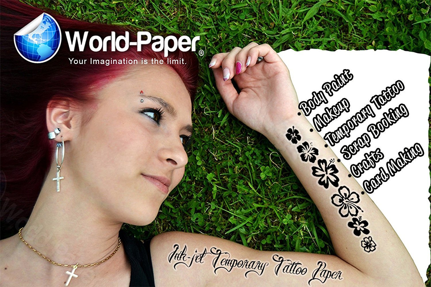 "Temporary Body Art Tattoo Sticker Inkjet 8.5/""x11/"" 5 Sheets"
