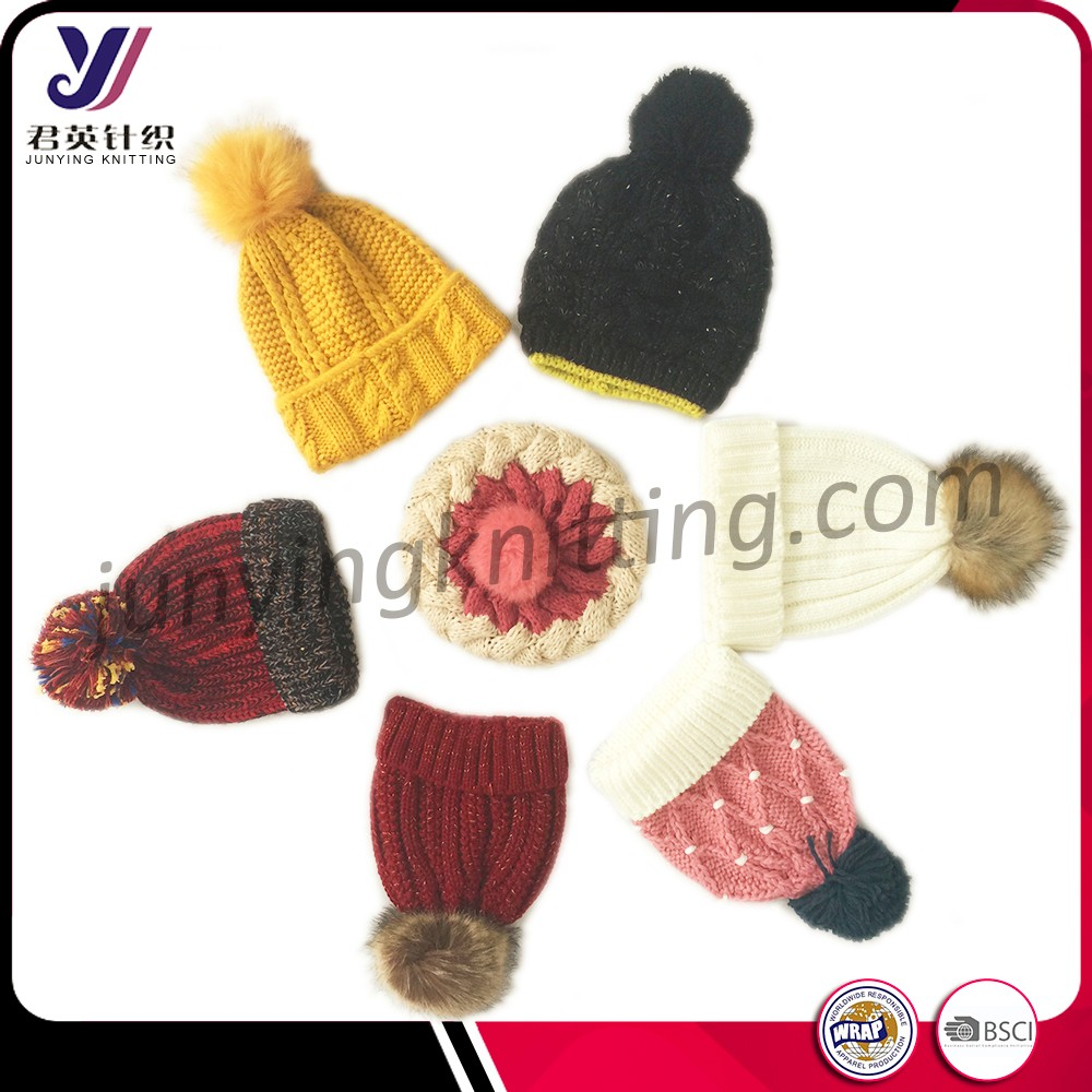 All kind of fashion knitted hats and caps in hat store wholesale