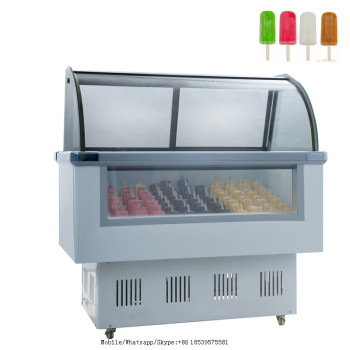 Flat glass door chest freezer with sneeze guard,ice cream dipping cabinets