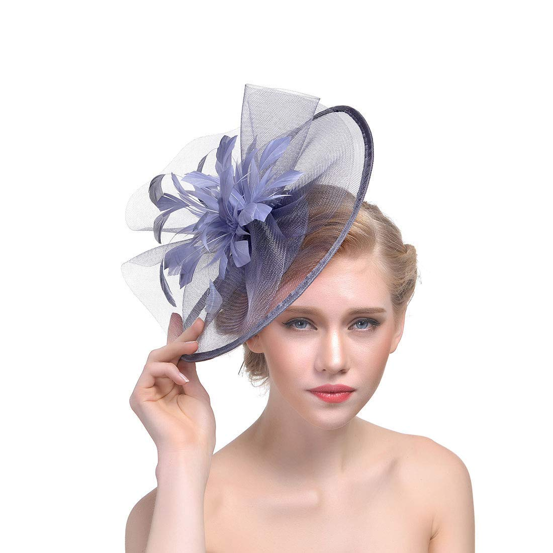 Get Quotations · Women s Tulle Feather Hat Formal Party Fascinator Derby  Headwear (Gray) a6b7dcafa9e
