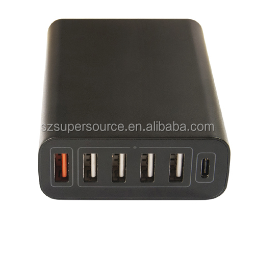 Brand new type-C quick charge 3.0 smart IC (All in one) 60W 6 port travel usb charger