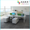 4 person office desk with wooden top and alluminum frame LB-07
