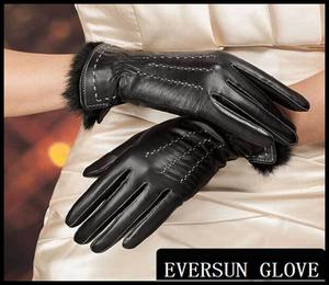 2017 Ethiopian sheep leather fashion black rabbit fur cuff women leather hand lady gloves