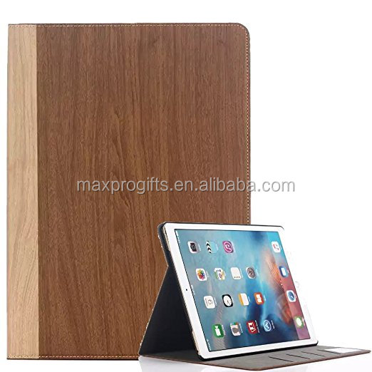 Wood Grain PU Premium Leather Multi-angle Folio Caso Del Basamento Smart Cover per iPad di Apple Pro 12.9 pollice