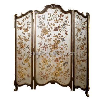 Vintage Furniture Decorative Gilt Wooden Floor Screen, Elegant Floral  Painting Three Panel Folding Screen