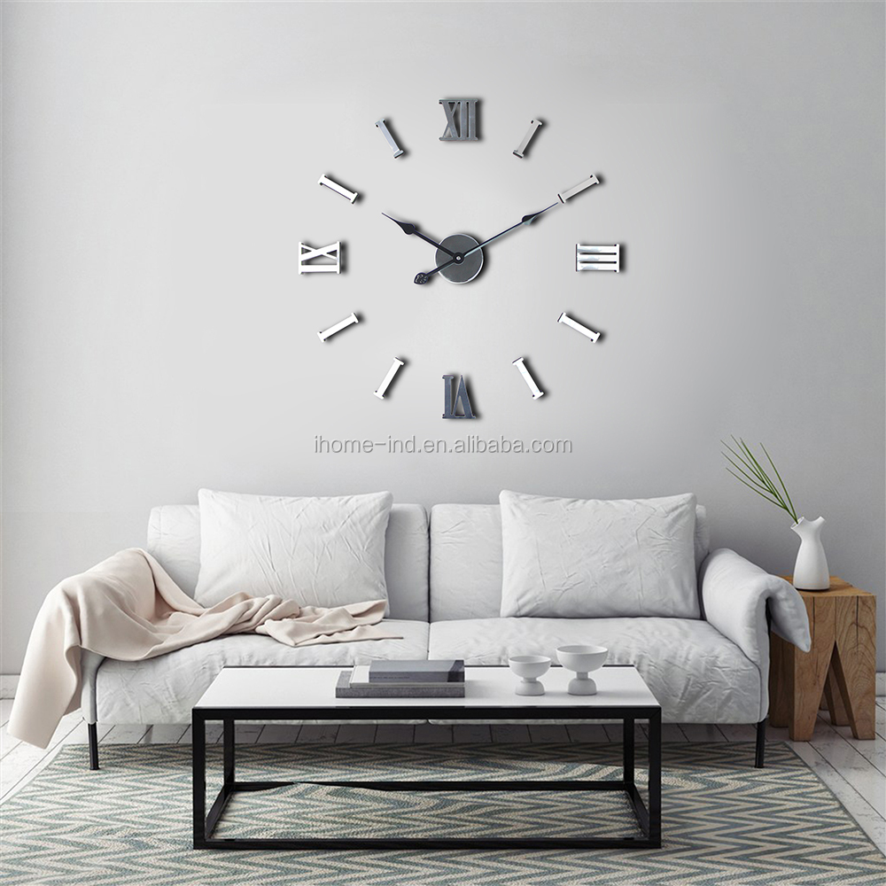 Silver Color Mirror Sticker Clock 3d Big Diy Wall Clock For Home ...