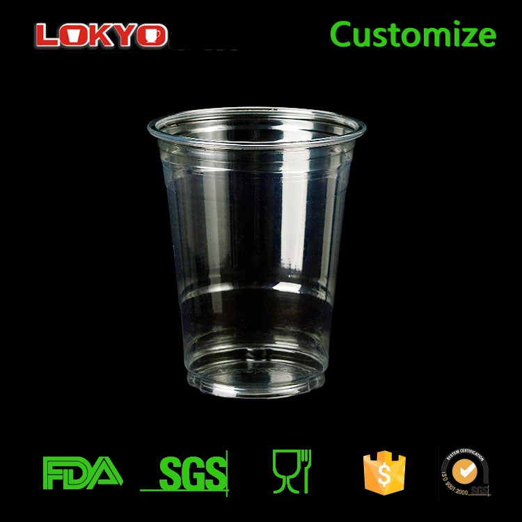 plastic cup disposable Custom printed plastic tea cup with lid