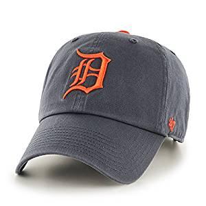 MLB Detroit Tigers 47 Brand Vintage Navy Clean Up Hat Withe Orange D / Adjustable / Navy / MLB