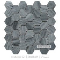 "century 2"" china bardiglio gray hexagon marble mosaic tile sheets for bathroom floor"