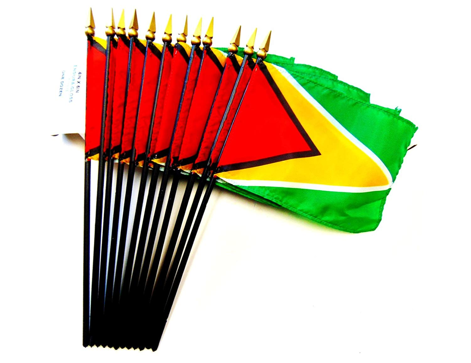 """MADE IN USA!! Box of 12 Guyana 4""""x6"""" Miniature Desk & Table Flags; 12 American Made Small Mini Guyanese Flags in a Custom Made Cardboard Box Specifically Made for These Flags"""
