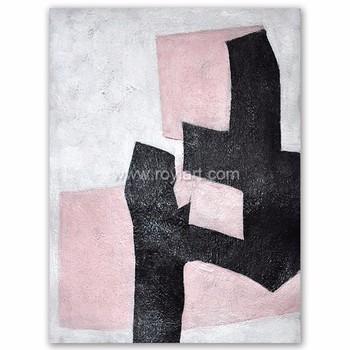 Grand Minimaliste Art Abstrait Art Acrylique Peinture Sur Toile Noir