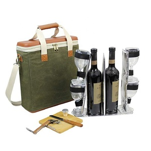 Travel beach bottle carrier wine tote bag with hidden insulated compartment