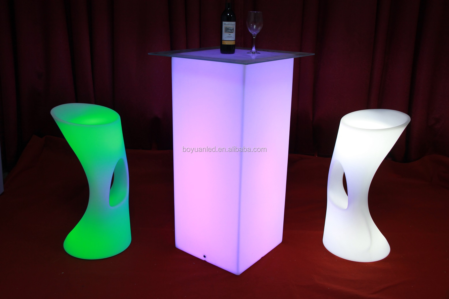 Outdoor High Top Led Light Up Cube Bar Table