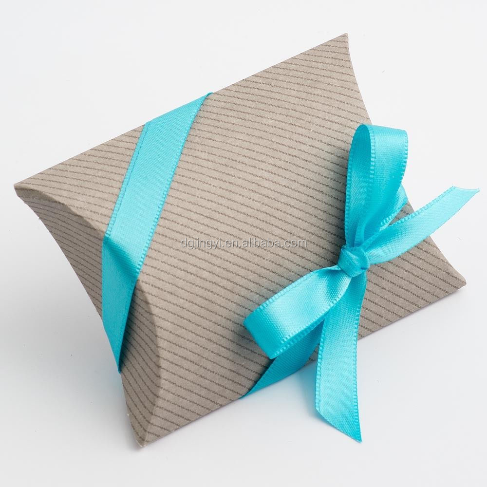 2015 Baby Blue Ribbon Kraft Paper Pillow Box For Hair Extension ...