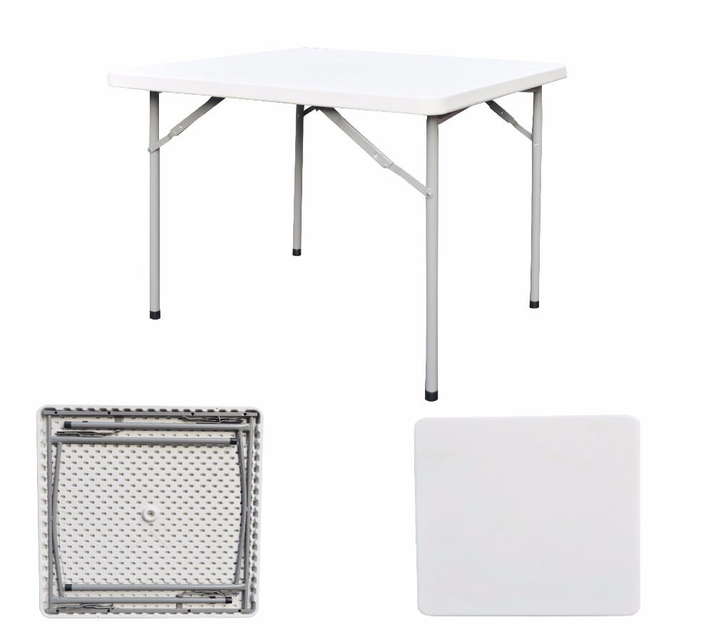 Square High Quality White Folding Metal Frame Plastic Tables Low Price