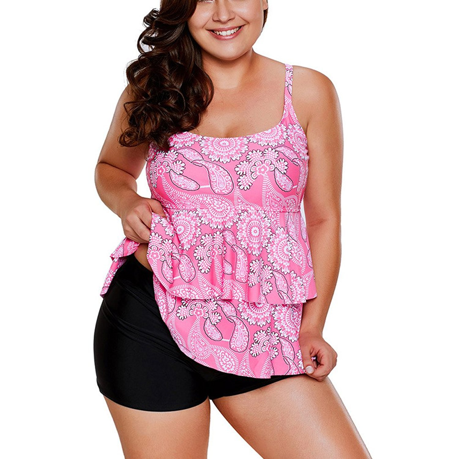 06aca14cced5a Get Quotations · SYBKNSTW Two Piece Womens Swimsuits Plus Size Tankini Set  A-Tops with Bottom Printed Swimwear