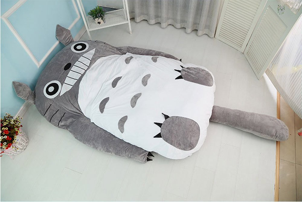Cute Cartoon Totoro Double Bed Sleeping Bag Pad Sofa Bed Mattress for Kids or Adult (78.7in70.86in, Grey)