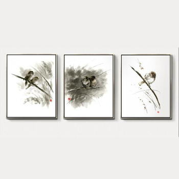 Chinese Painting Birds Pattern Wall Art Frame Canvas Oil Painting ...