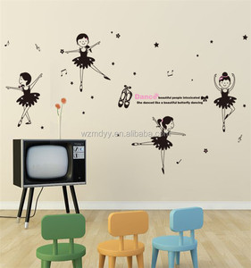 kids cartoon static stickers/cute girl dacing sticker/cartoon character wall stickers