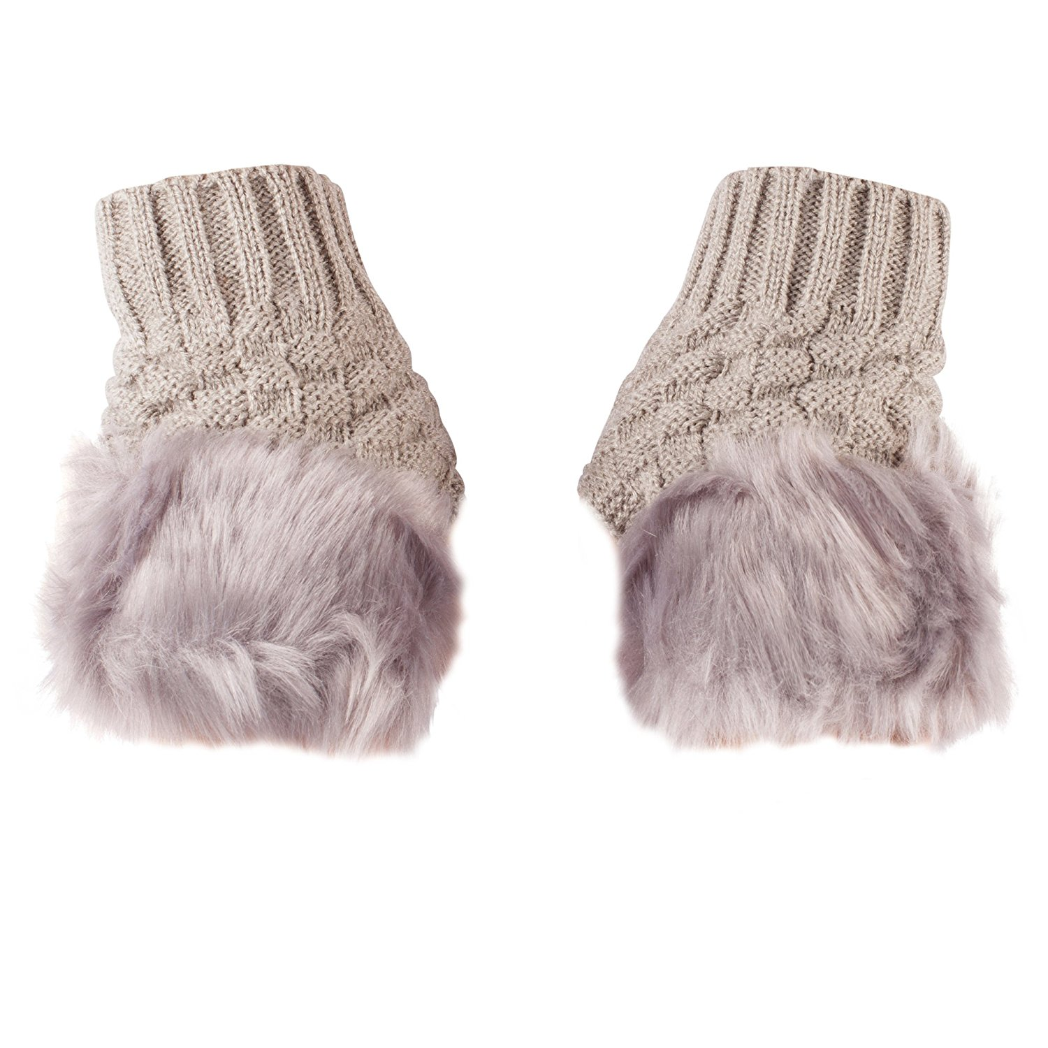 89b878c77ec Get Quotations · Warm Knitted Winter Fingerless Gloves with Faux Fur Trim  in Various Colours