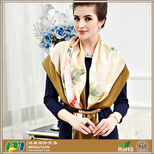 Ladies Pretty Floral Soft Oversized 100% Real Silk Square Scarves Wholesale