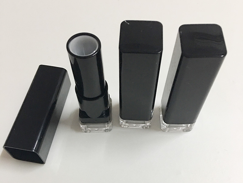 12.1 mm clear bottom black plastic empty lipstick container factory wholesale