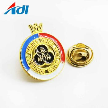 Custom metal soft enamel plated gold military lapel pins with butterfly clutch