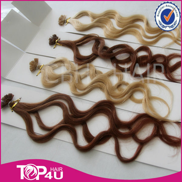 High quality curly human hair keratin pre bonded hair extension