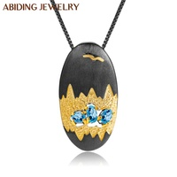 Abiding Perfect Natural Swiss Blue Topaz Oval Pendant Original Cave Treasure Design Pendant Silver 925 Necklace Women Jewelry