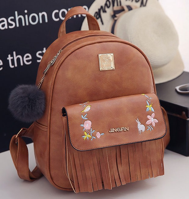 Embroidery Rabbit Backpacks Woman Wholesale Student Tassel Backpacks
