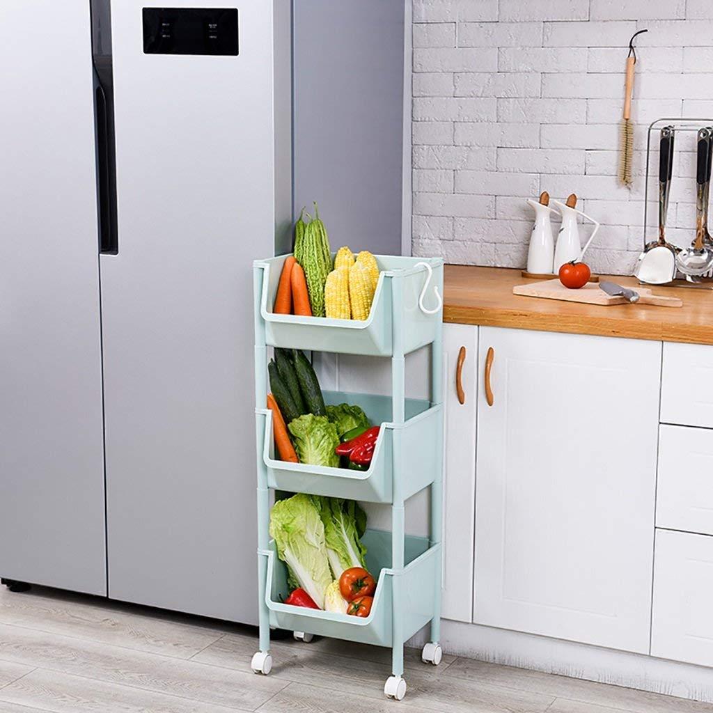 LXsnail Kitchen Utensils Vegetable Rack Storage Rack Floor Multilayer Plastic Household Fruit And Vegetable Storage Rack Fruit Storage Basket (Color : C, Size : 3527.590.5cm)