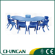 2015 hot sale children plastic tables and chairs baby moon table
