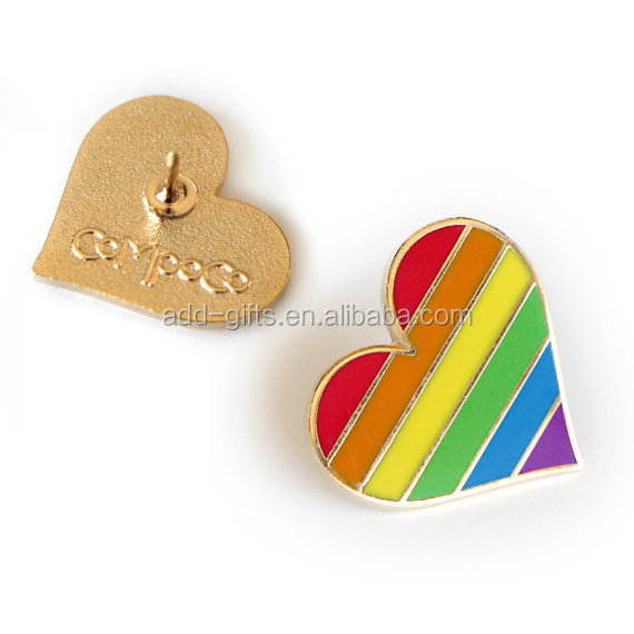 colorful heart shaped pin, with soft enamel filled and gold plate