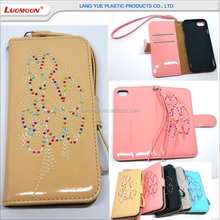 flip wallet leather phone cover diamond case for apple iphone 6 for winter elegant lady girls