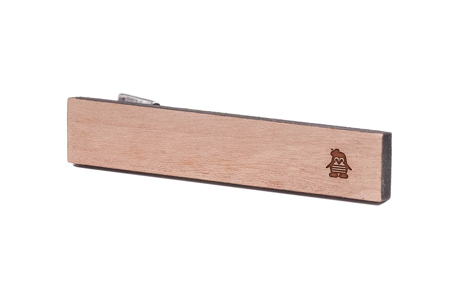 Wooden Accessories Company Wooden Tie Clips with Laser Engraved Sidebraid Design Cherry Wood Tie Bar Engraved in The USA