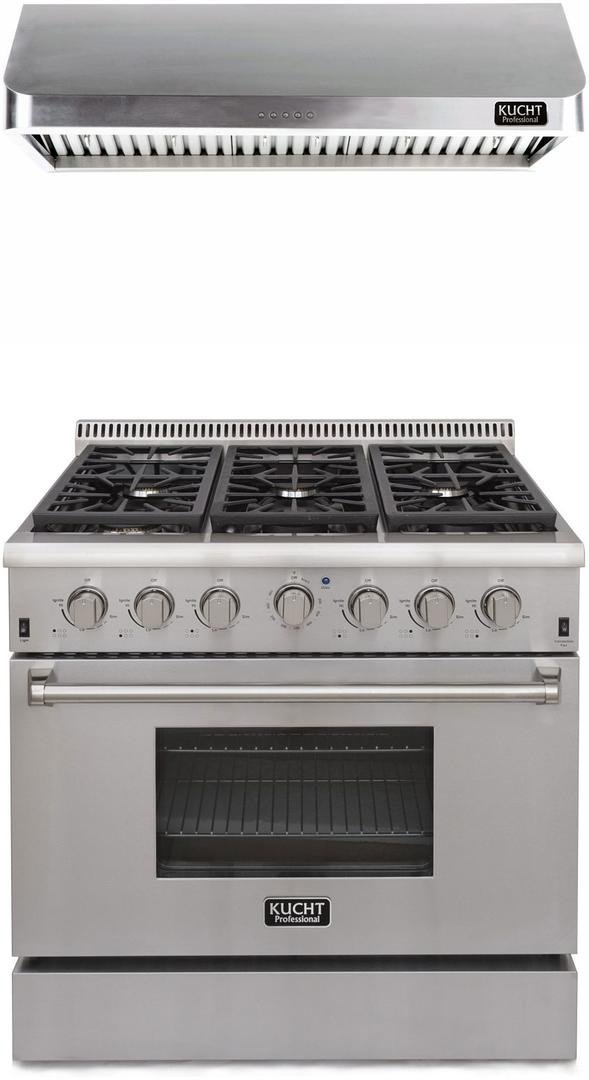 "Kucht Professional Series 2-Piece Stainless Steel Kitchen Package with KRG3618ULP 36"" Liquid Propane Gas Range and KRH3602U 36"" Push Button Control Hood"