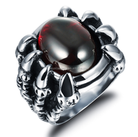 Wholesale stainless steel cross claws ruby stone men ring