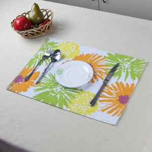 custom flower print decorative cotton dinner table cloth mat fabric placemat