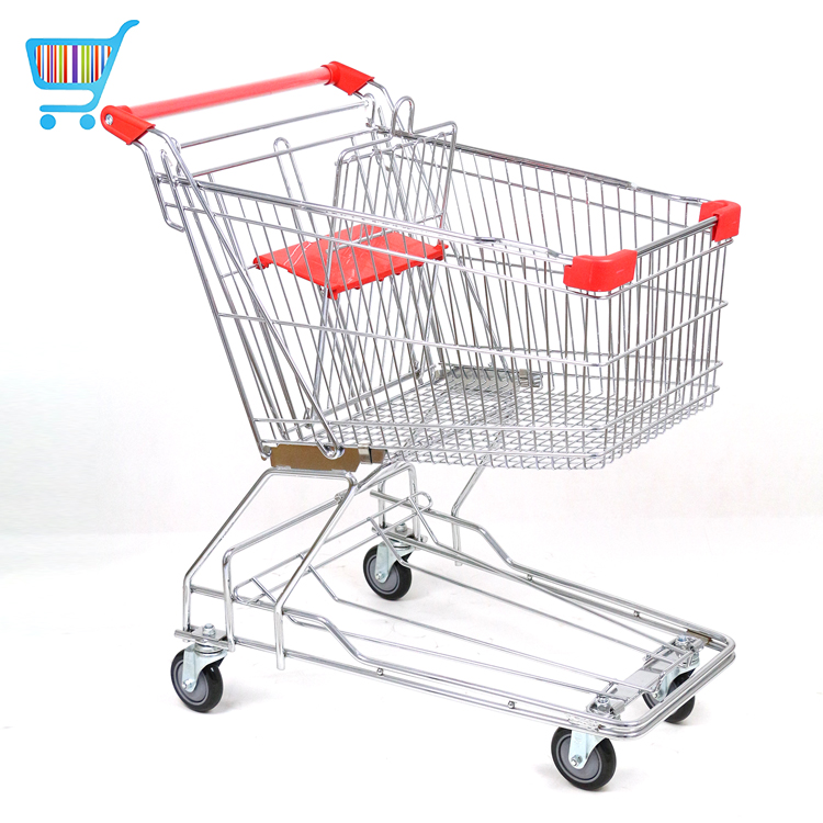 60l asian style 4 wheel shopping trolley 60l supermarket shopping cart steel trolley mobile grocery shopping cart