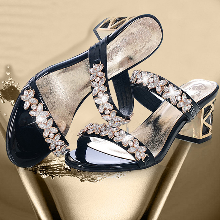 ladies sexy rhinestone emboss design comfortable slippers new leather high heel nXRYaXq