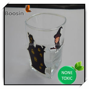 washable glass cup stickers / silicone sticker / no glue sticker