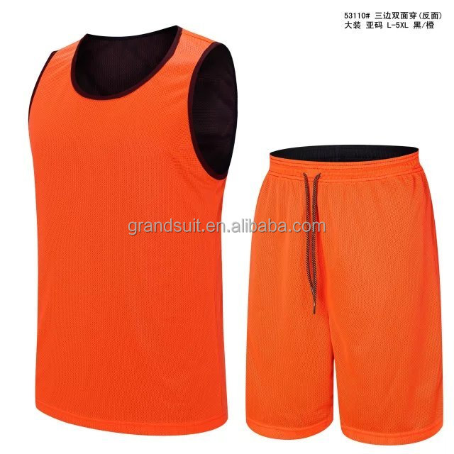 Kundendesign Basketball Jersey schwarz und orange doppelseitig reversible Basketball Uniformen Logo dri Fit Jersey Basketball