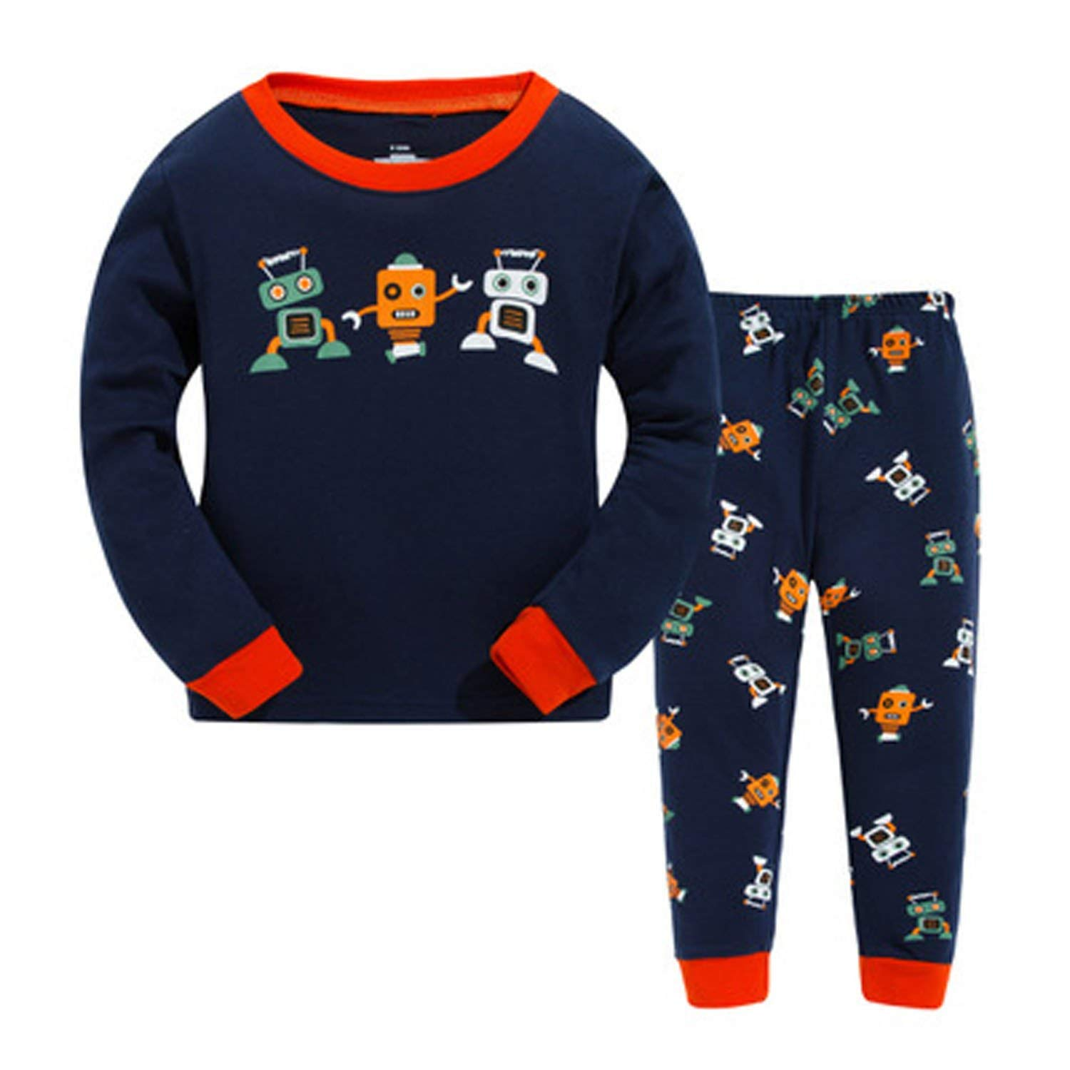 Tinaflower Robot Little Boys' 2 Piece Long Sleeve Pajama Sets 100% Cotton Sleepwear Toddler Kids Clothes