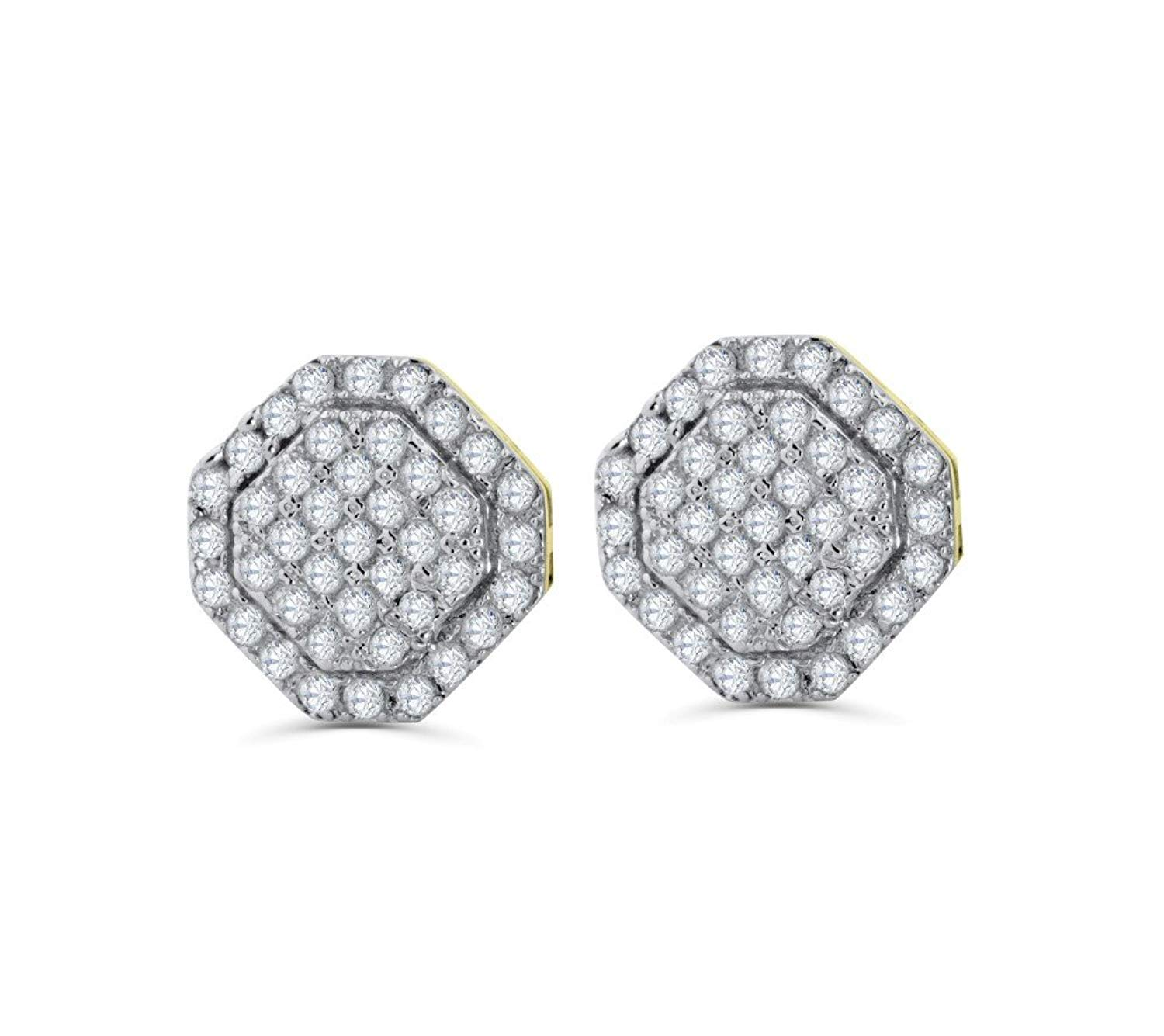 Get Quotations 10k Gold Diamond Earrings Mens Or Womnes 7mm Stop Sign Back 1 4ctw