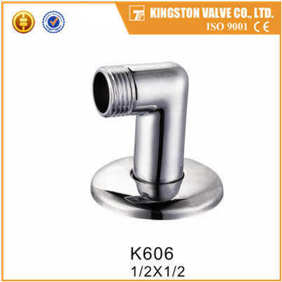 K606 sanitary accessories brass elbow polishing and chrome plated with rossete CE approved
